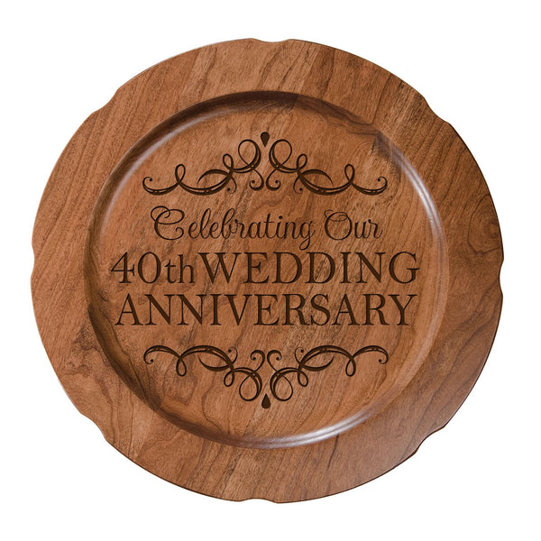 LifeSong Milestones Personalized 40th Happy Wedding Anniversary Decorative Plate - Forty Year Gift for Parents Husband Wife Him Her Couple 12""