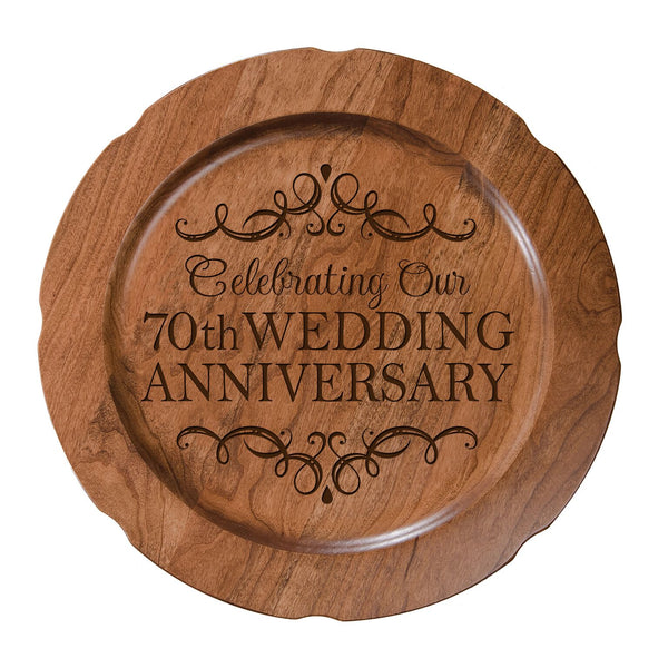 LifeSong Milestones Personalized 70th Happy Wedding Anniversary Decorative Plate - Seventy Year Gift for Parents Husband Wife Him Her Couple 12""