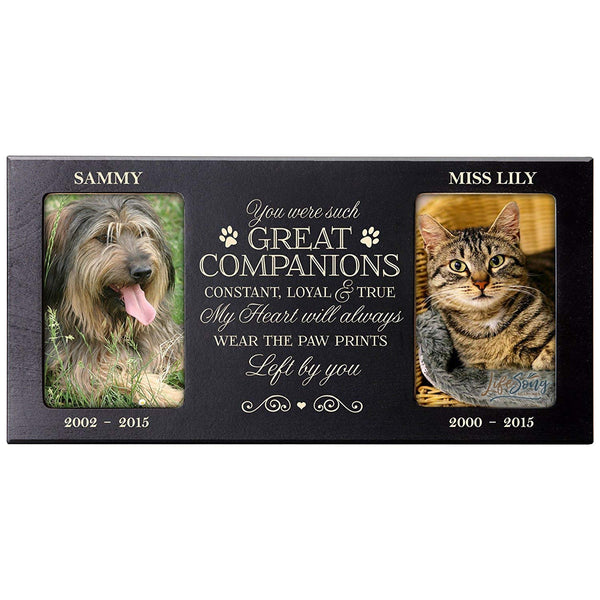 Personalized Pet Memorial Gift, Sympathy Photo Frame, You Were Such Great Companions Loyal and True, Custom Frame by LifeSong Milestones USA Made Holds Two 4x6 Photos