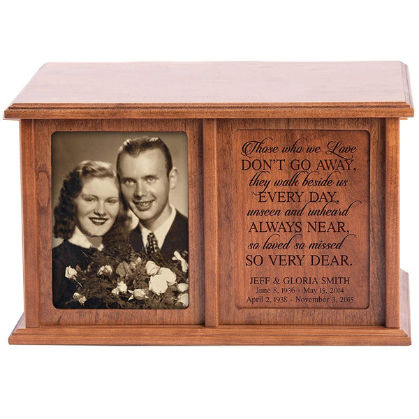 Companion Urns for Humans Ashes Personalized Engraved Double Keepsake Urn for 2 adults Those we love don't go away cherry Wood For home or Columbarium Niche