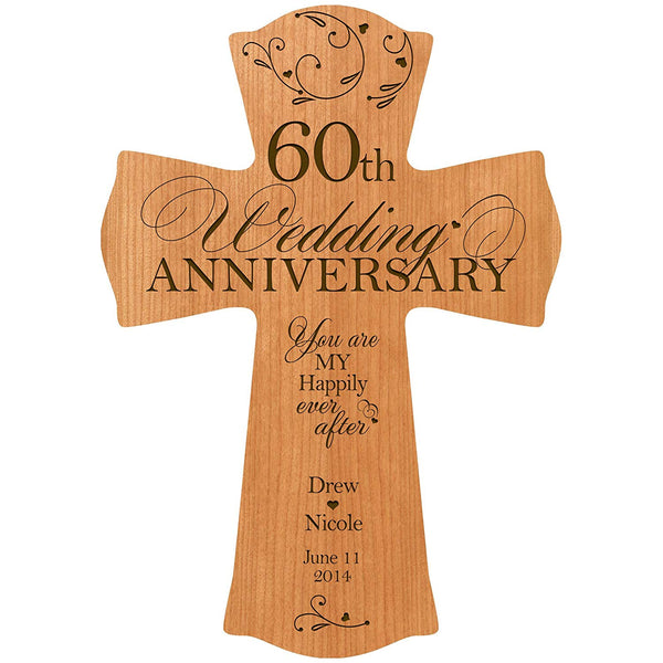 "LifeSong Milestones Personalized 60th Wedding Anniversary Wood Wall Cross Gift for Couple 60 year You Are My Happily Ever After (8.5"" x 11"", Cherry)"