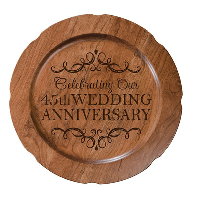 LifeSong Milestones Personalized 45th Happy Wedding Anniversary Decorative Plate - Forty Five Year Gift for Parents Husband Wife Him Her Couple 12""