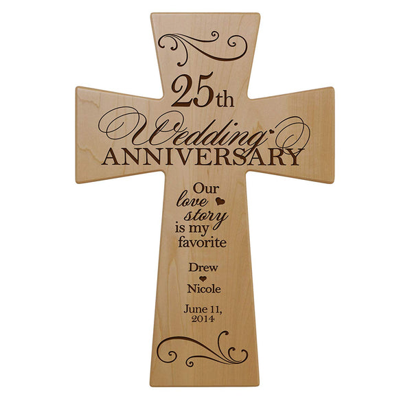 Personalized 25th Anniversary Maple Wall Cross - Two Hearts Two Lives 7x11