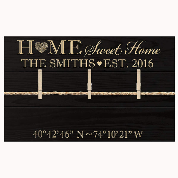 LifeSong Milestones Personalized Home Coordinates Latitude Longitude Wall sign holds photos with Family last Name and Date Established Home Sweet Home for couple