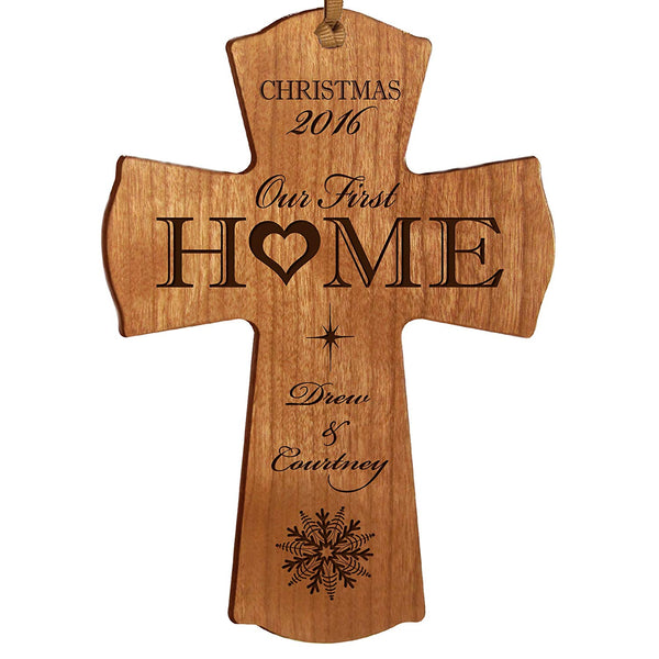 LifeSong Milestones Personalized Our First in our home Christmas Holiday Gift Cross Ornament Custom Housewarming gift ideas for couple him her by