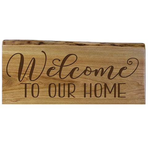 Welcome Natural Cherry Live Edge Wood Wall Plaque Family Gift