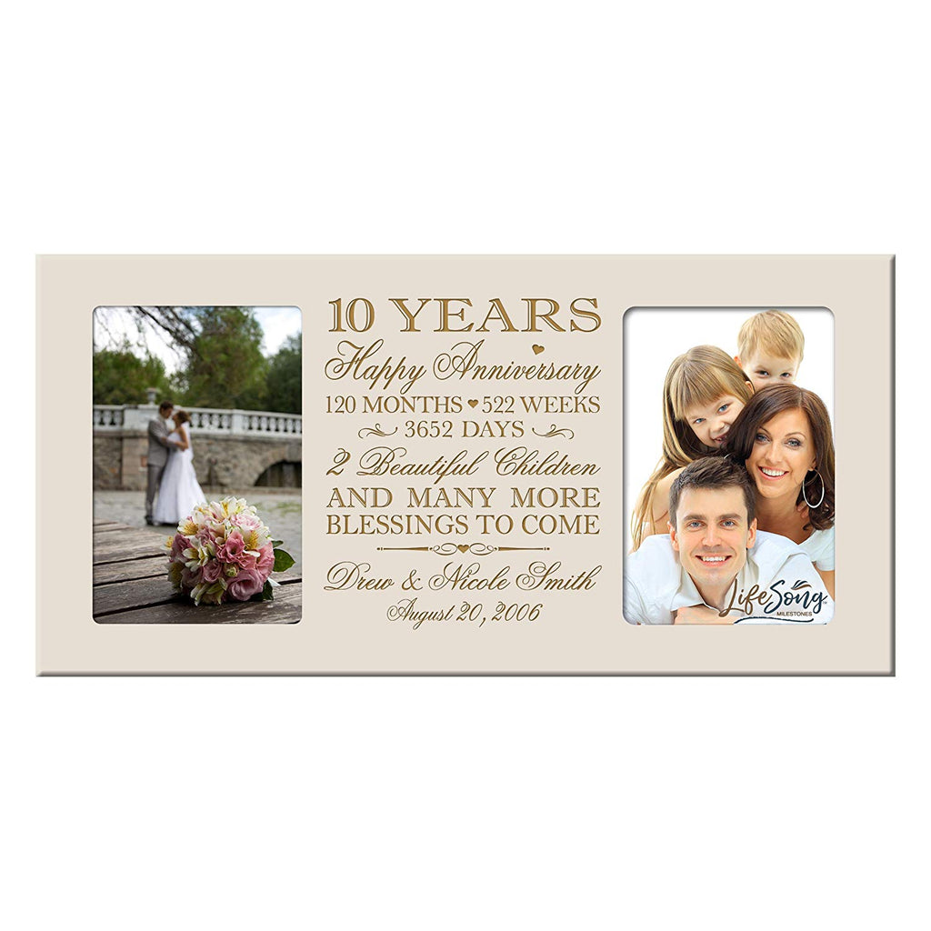 Personalized 10th Year Anniversary Double Photo Frame