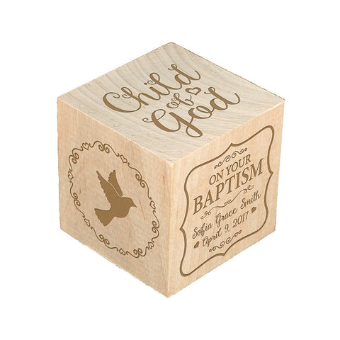 Personalized Baby Dedication Maple Blocks - May God Bless You Child Of God