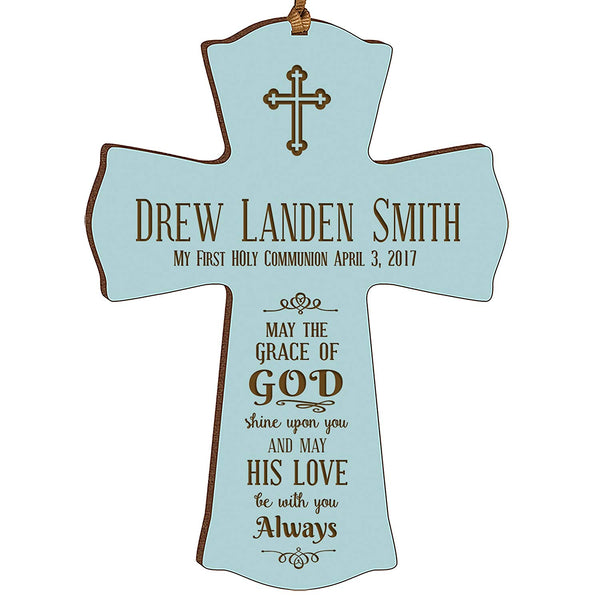 Personalized Baptism Cross Ornament - May The Grace Of God Blue