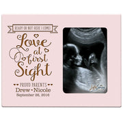Personalized New Baby Sonogram Photo Frames - Love At First Sight Pink
