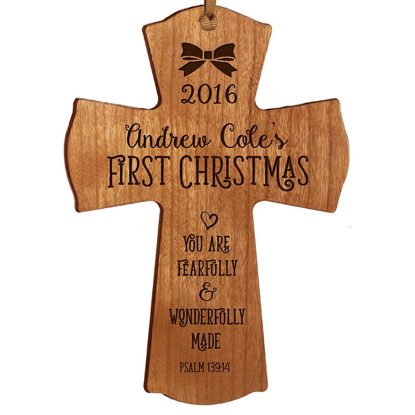 Personalized Baby's First Christmas Ornament cross New Parent gift ideas for newborn boys and girls Custom engraved ornament for mom dad and grandparents (Cherry Fearfully and wonderfully Made)