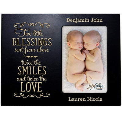 Personalized New Twin Baby Photo Frame - These Little Blessings Black