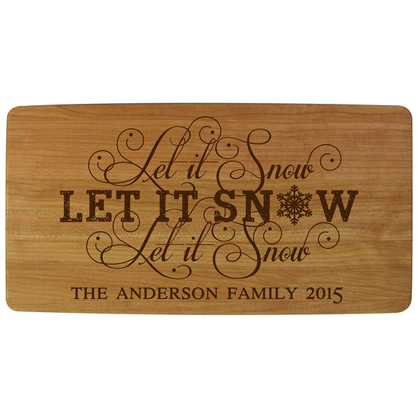 "Personalized Christmas Solid Cherry Wood Cutting Boards Customized Let It Snow with Family Name and Year Established Housewarming Gifts 11.75"" L X 6"" W X .75 By LifeSong Milestones"