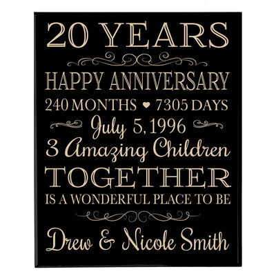 Personalized 20th Anniversary Wall Plaque - Together Is A Wonderful Place Black Solid
