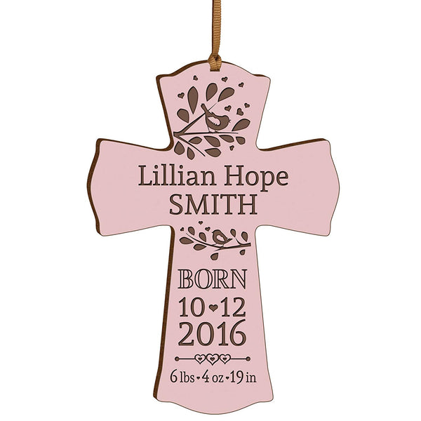 Personalized Engraved New Baby Cross Ornament - Pink