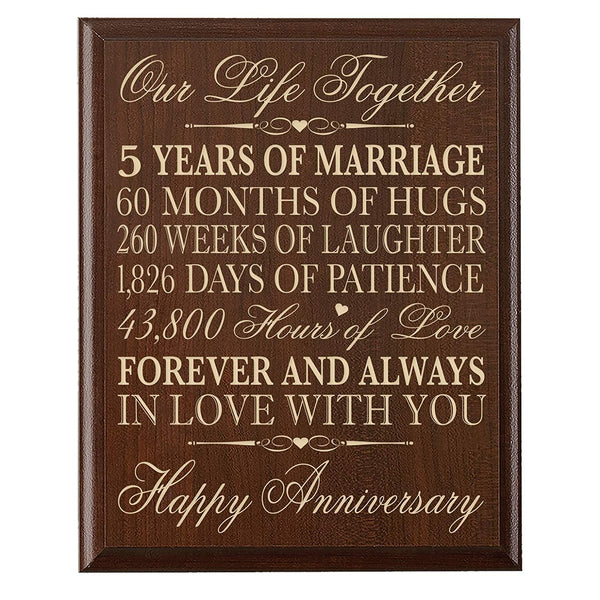 LifeSong Milestones 5th Wedding Anniversary Cherry Wall Plaque Gifts for Couple, 5th Anniversary Gifts for Her,5th Wedding Anniversary Gifts for Him 12 inches wide X 15 inches high Wall Plaque By