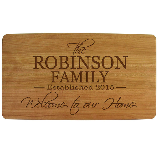 Personalized Cherry wood Cutting board Welcome to Our Home Kitchen cutting board Family Established sign with last Name and Date Established by LifeSong Milestones 11.75 x 6