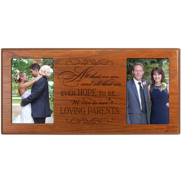 Engraved Wedding Picture Frame for parents, Mom and Dad Thank-you Gift Holds (2) 4x6 Photos from LifeSong Milestones