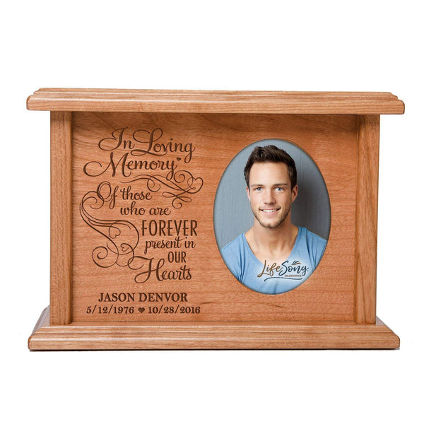 LifeSong Milestones Cremation Urns for Human Ashes SMALL Memorial Keepsake box for cremains, personalized Urn for adults and children ashes In Loving Memory SMALL portion of ashes holds 2x3 photo