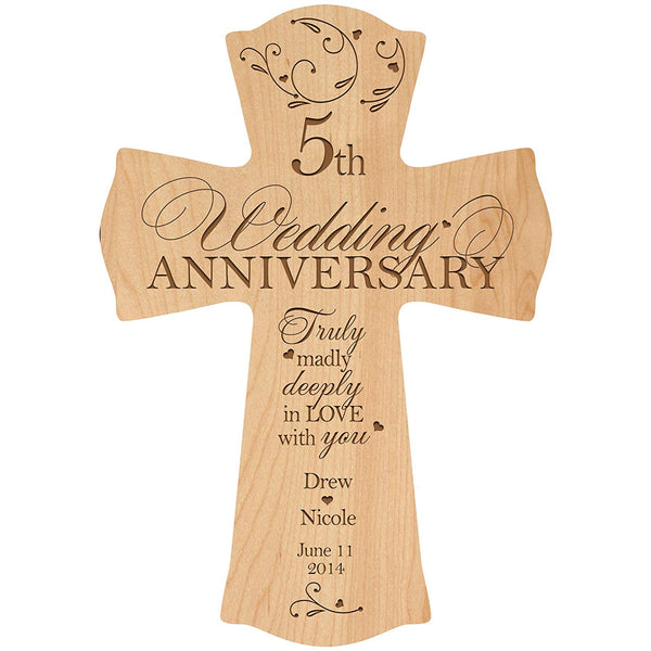 Personalized 5th Wedding Anniversary Wood Wall Cross Gift for Couple 5 year Anniversary Gifts for Her, Anniversary Gifts for Him Truly Madly Deeply in Love with You