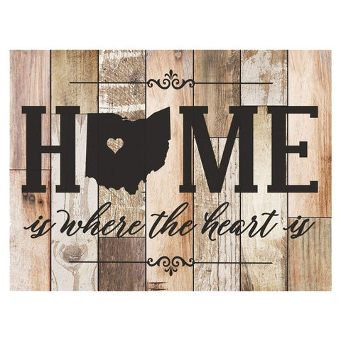 Personalized Home Is Where The Heart Is Distressed Wall Plaque - Ohio Dark Distressed Filled Ohio