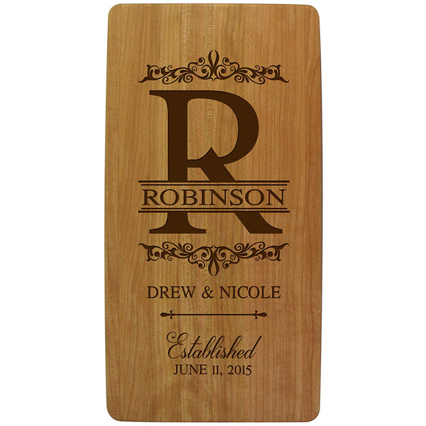 "Personalized Wedding Anniversary Gifts Solid Cherry Wood Cutting Boards Customized with Your Initial Monogram Housewarming Gifts 11.75"" L X 6"" W X .75 By LifeSong Milestones"
