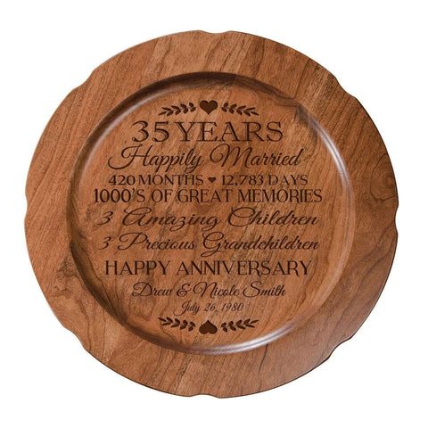 Personalized 35th Wedding Anniversary Plate - Happily Married