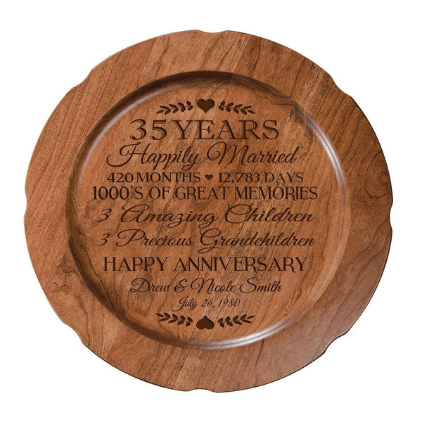 "Personalized 35th Wedding Anniversary Plate Gift for Her, Happy 35 Year Anniversary for Him, 12"" D Custom Engraved for Husband or Wife by LifeSong Milestones USA Made"
