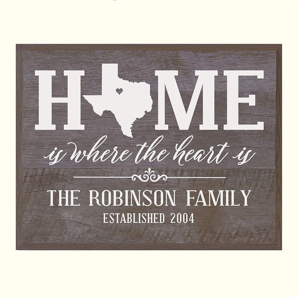 Personalized Texas State Home is Where the heart is Sign