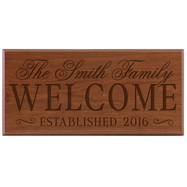 Personalized Family Established Date Signs, Custom Sign Engraved with Family Name and Date Established Welcome By LifeSong Milestones 8x16