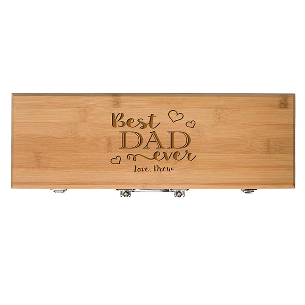 Personalized for Dad gift Custom Engraved Best Dad Ever 3pc Barbecue Gift set for Outdoor grills