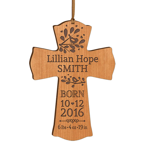 Personalized Engraved New Baby Cross Ornament - Cherry