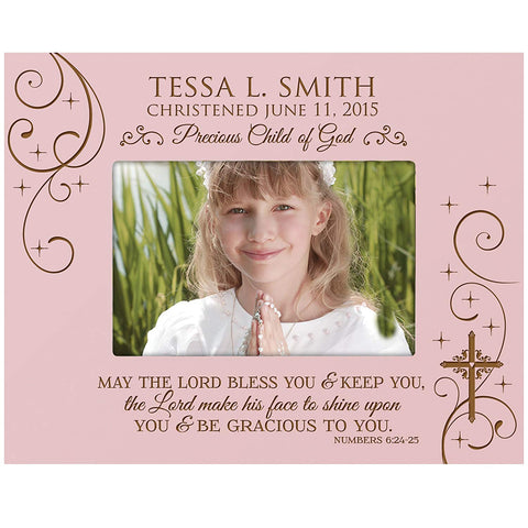 Personalized Baptism, Christening, 1st Holy Communion Photo Frame - May The Lord Bless You and Keep You (Maple)