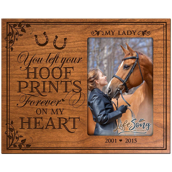 LifeSong Milestones Personalized Pet Memorial Gift, Sympathy Photo Frame, You Left Your Hoof Prints Forever On My Heart, Custom Frame Holds 4x6 Photo by USA Made
