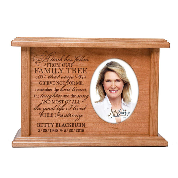 Cremation Urns for Human Ashes SMALL Memorial Keepsake box for cremains, personalized Urn for adults and children ashes A limb has fallen from our FAMILY TREE SMALL portion of ashes holds 2x3 photo
