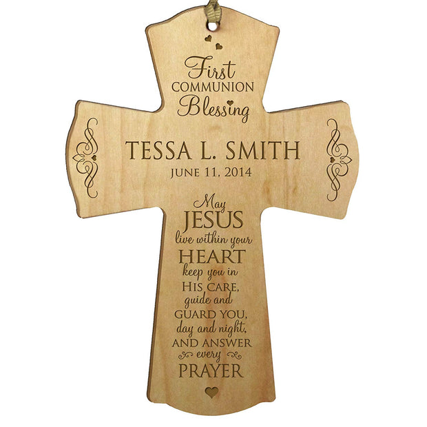 Personalized Baptism Cross for Christening - Jesus Within Your Heart