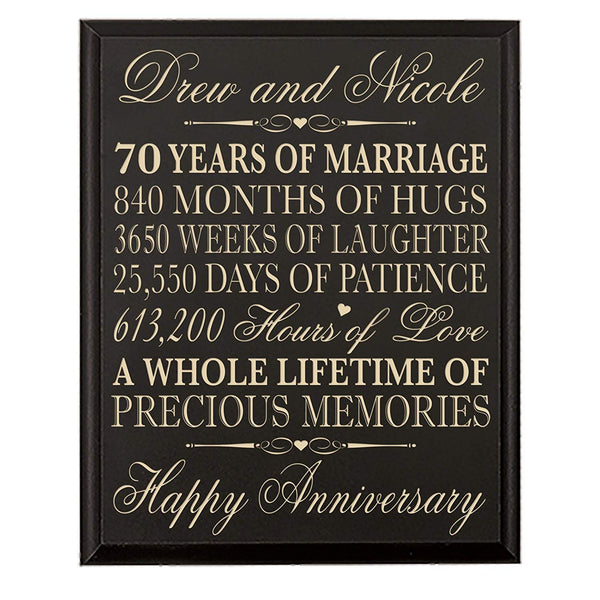 "Personalized 70th Wedding Anniversary Wall Plaque Gifts for Couple parents,Custom Engraved 70th Anniversary Gifts for Her,him 70th Wedding Anniversary Gifts for Him 12"" W X 15"" H Wall Plaque (Black)"