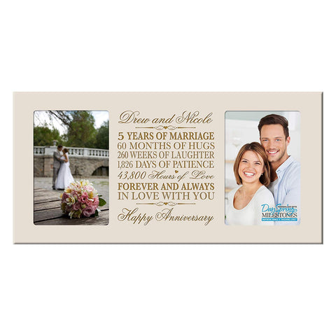 Personalized 5th Anniversary Double Photo Frame - Happy Anniversary Ivory