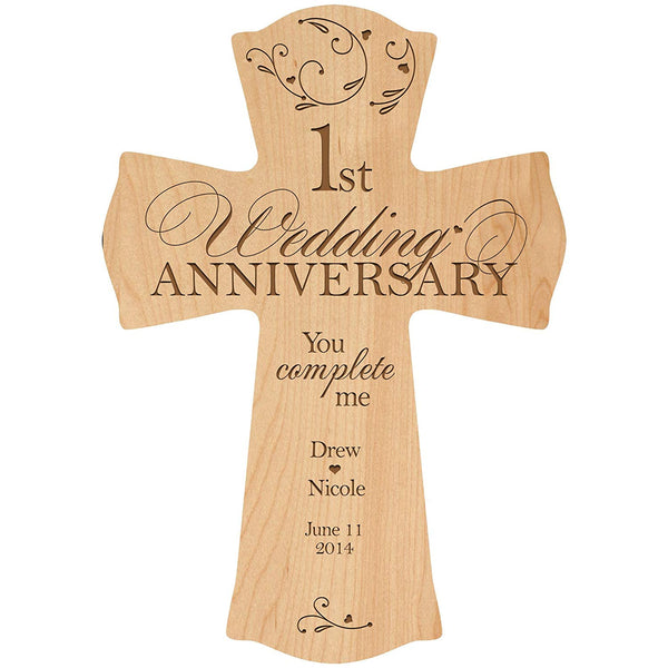 "LifeSong Milestones Personalized 1st Wedding Anniversary Wood Wall Cross Gift for Couple 1 year Anniversary Gifts for Her, Anniversary Gifts for Him You Complete Me (8.5"" x 11"", Maple)"