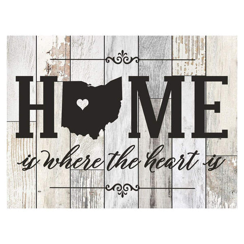 Personalized Home Is Where The Heart Is Distressed Wall Plaque - Ohio Light Distressed Filled Ohio