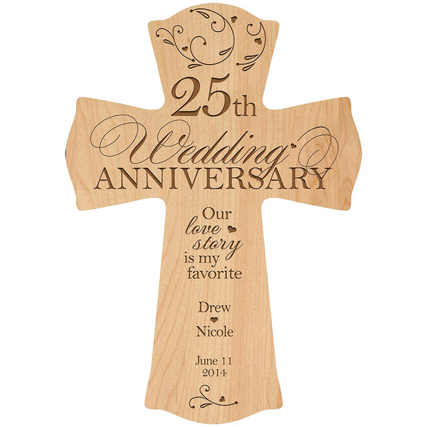 LifeSong Milestones Personalized 25th Wedding Anniversary Wood Wall Cross Gift for Couple 25 year Anniversary Gifts for Her, Anniversary Gifts for Him Our Love Story is My Favorite