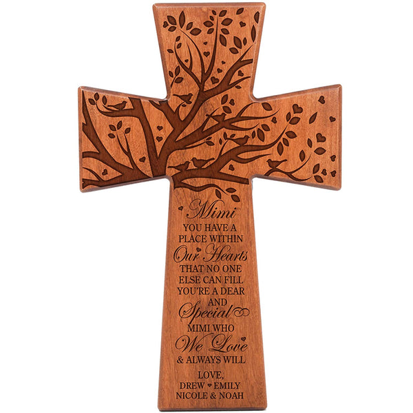 LifeSong Milestones Mimi Gifts Personalized Cherry Wood Wall Cross Grandparent gift ideas for Mimi