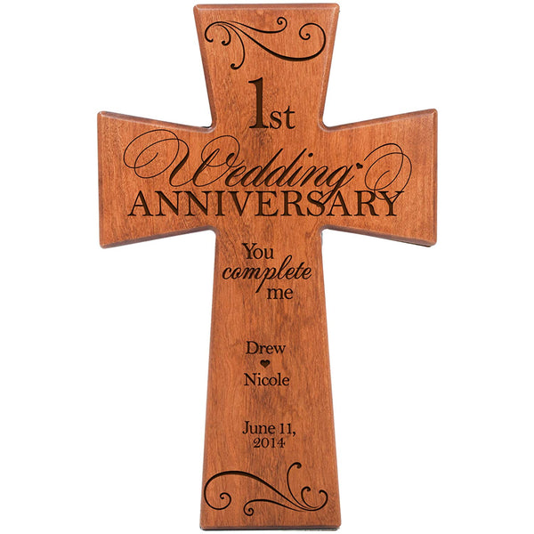 Personalized 1st Wedding Anniversary Cherry Wood Wall Cross