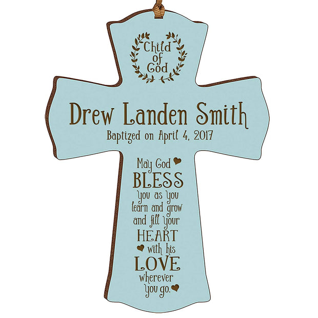 Personalized Baptism Cross Ornament - May God Bless Blue
