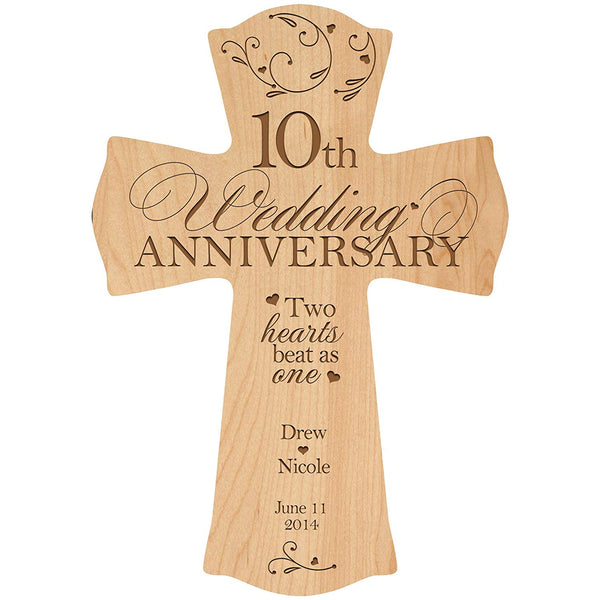 LifeSong Milestones Personalized 10th Wedding Anniversary Wood Wall Cross Gift for Couple 10 year Anniversary Gifts for Her, Anniversary Gifts for Him Two hearts beat as one