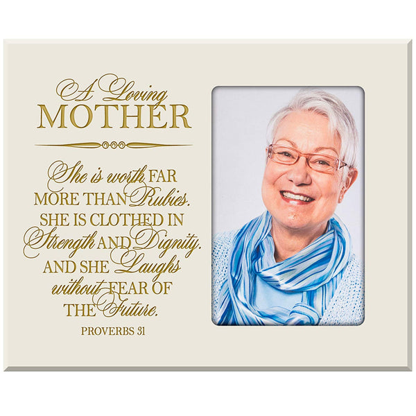 She Is Clothed in Strength & Dignity, and She Laughs Without Fear of the Future Photo Frame Proverbs 31:25 Wall Decor By LifeSong Milestones (Ivory)