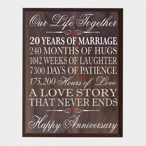 20th Wedding Anniversary Wall Plaque Sign Our Life Together