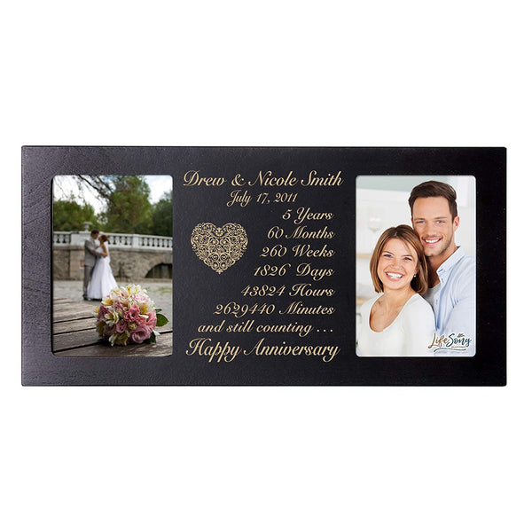 Personalized 5 Year Anniversary gift her him couple Custom Engraved wedding celebration for Husband wife girlfriend boyfriend photo frame holds two 4x6 photos by LifeSong Milestones