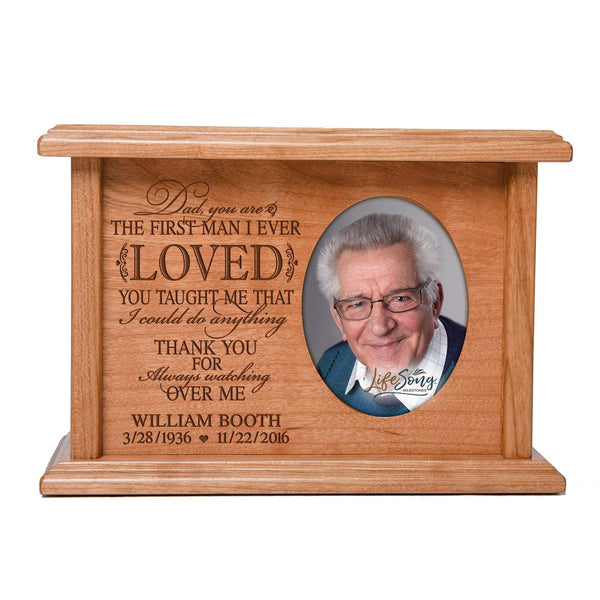 Cremation Urns for Human Ashes SMALL Memorial Keepsake box for cremains, personalized Urn for adults and children ashes Dad, you are THE FIRST MAN I EVER LOVED SMALL portion of ashes holds 2x3 photo