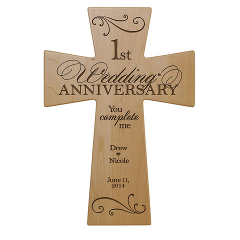 Personalized 1st Anniversary Maple Wall Cross - You Complete Me 12 x 17